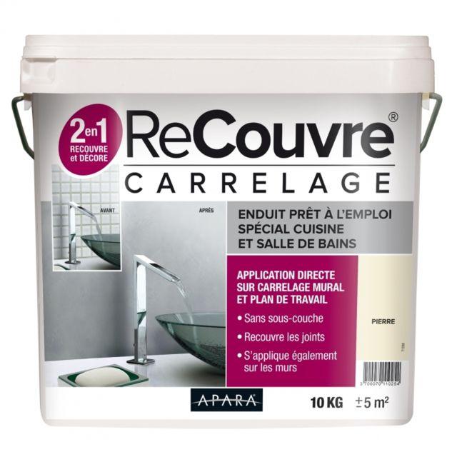 Apara - Enduit carrelage salle de bain, cuisine, sans sous couche, recouvre les joints, lisse et décore, plusieurs coloris,10 KgPierre RAL 9001