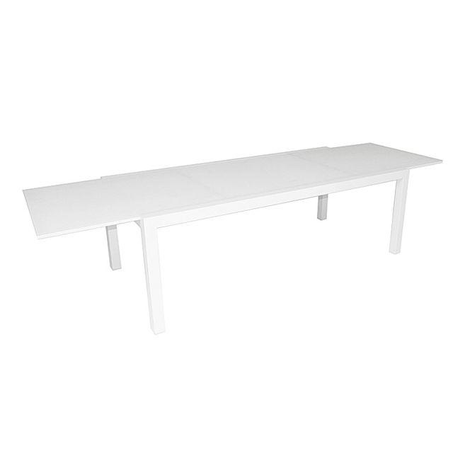 Gecko Jardin - Table alu blanc verre blanc 220/330x106 cm Murray ...