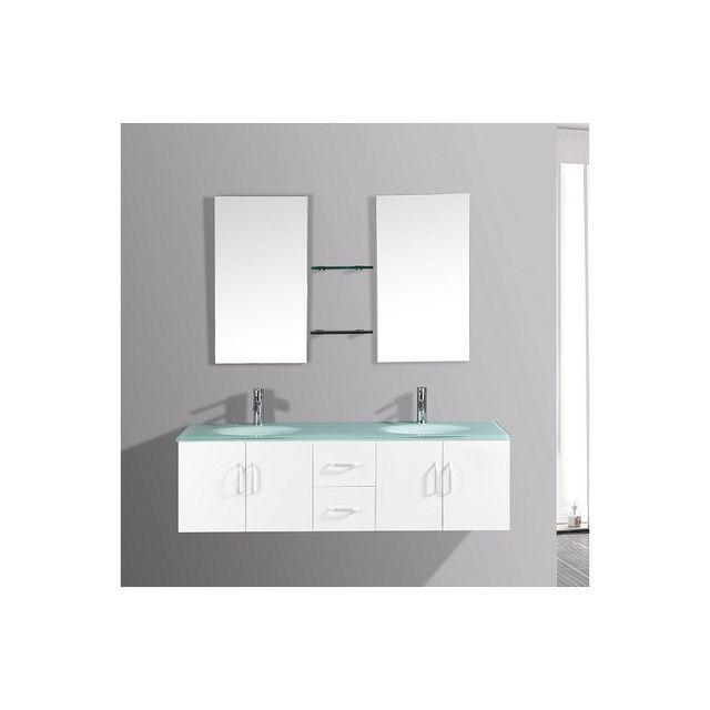 Rocambolesk Magnifique ensemble meuble salle de bain 'Europe b' - 2 vasques + 2 miroirs