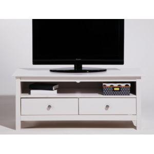 marque generique meuble tv bas en bois massif avec 2 tiroirs longueur 110cm berna blanc. Black Bedroom Furniture Sets. Home Design Ideas