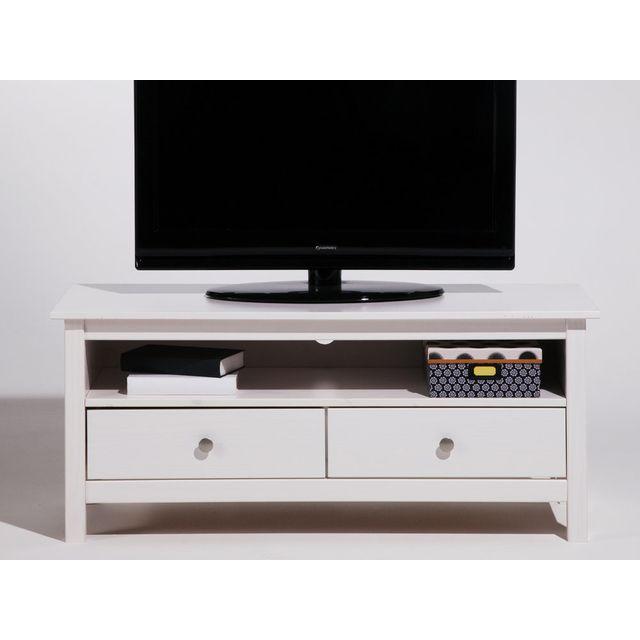 Marque Generique Meuble Tv bas en bois massif avec 2 tiroirs Longueur 110cm Berna - Blanc