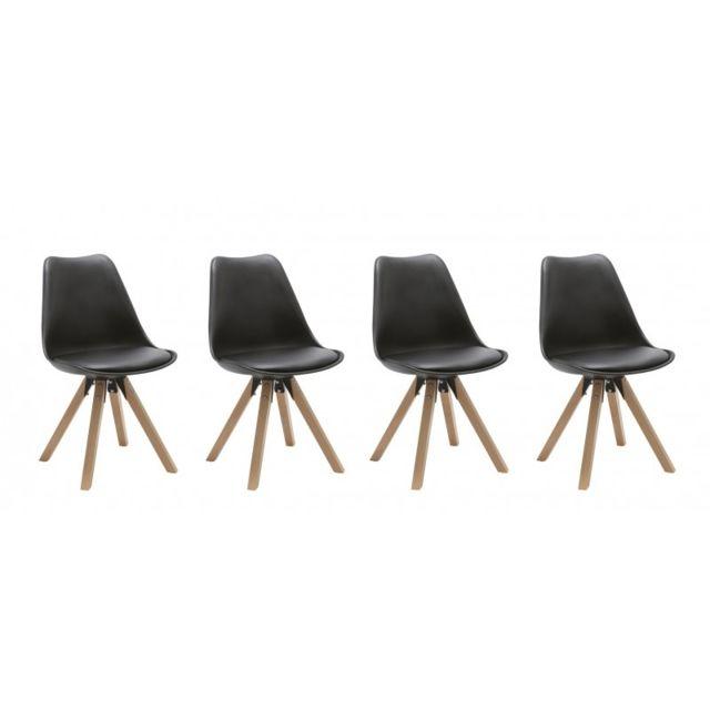 Autre Set de 4 chaises de salle à manger design simili-cuir noir pieds bois Cds09127