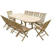 Teck'LINE - Ensemble de jardin en teck premium Milana 8 chaises 2 fauteuils Jenae