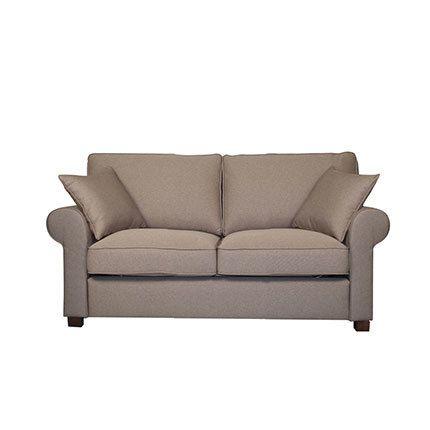 Canapé 2 places fixe en tissu taupe - Gabriel