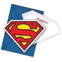Unique Party - Superman Et Enveloppes D'INVITATION LOT De 6