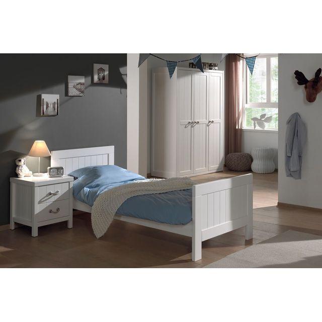 Ensemble complet 3 pièces pour chambre enfant moderne avec lit 90x200,  chevet,et armoire 3 portes coloris blanc