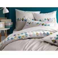 Matt&Rose - Housse de couette bicolore 100% coton frise triangles scandinaves gris Esprit Scandinave