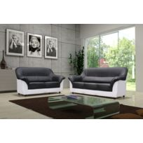 Relax design - Canapé Cindy noir/blanc 2 places sofa divan