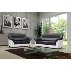 Relax design canap cindy noir blanc 3 places sofa divan for Divan 3 places occasion