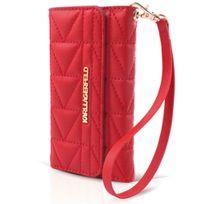 Karl Lagarfeld - Pochette de luxe Karl Lagerfled matelassée rouge avec dragonne pour Iphone 5S
