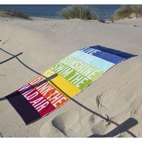 Sorema - Drap de plage coton 420gr/m2 larges bandes multicolores 100x180cm Live