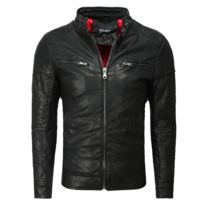 Freeside - Veste cuir pour homme Veste ajustée 239 noir