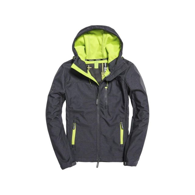 Dark Veste Superdry Gris Foncé Hooded Grey Lime Windtrekker z8ctxq