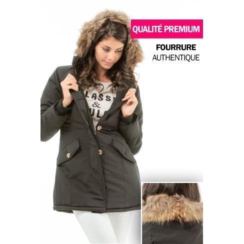 5ae831a4cbe1 Princesse Boutique - Parka noir bordé de fourrure véritable - pas ...
