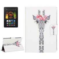 Housse étui Pour Amazon Kindle Paperwhite 2 Cartes Modèle De Dessin De Tête De Girafe Horizontal En Cuir Flip Avec Support Emplacements