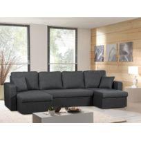 Modern Sofa - Canapé panoramique convertible gris anthracite Venus