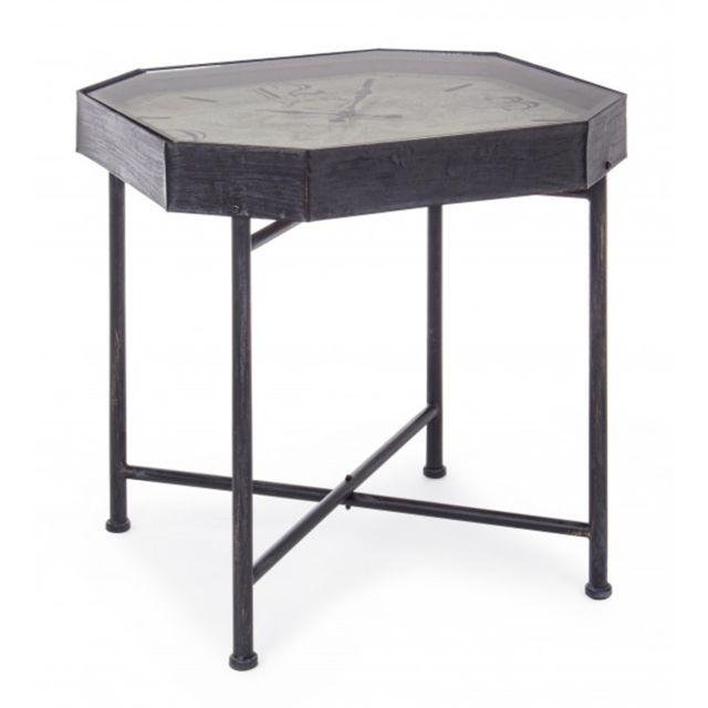 Pegane Table Basse Avec Horloge En Fer Et Bois Coloris Noir O