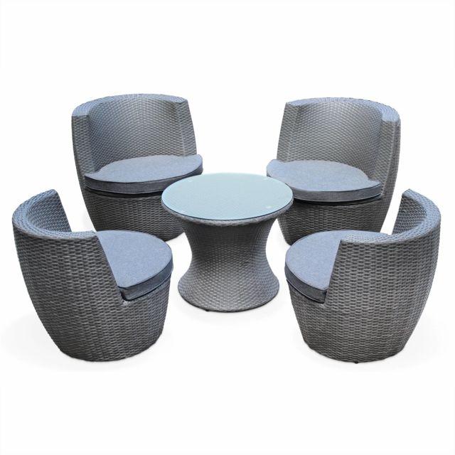 ALICE S GARDEN Salon de jardin en résine tressée grise 4 places empilable  et encastrable Bologna 06f61763dc15