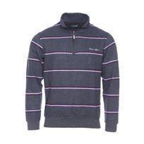 Ethnic Blue - Pull col zippé gris anthracite à rayures violettes et bordeaux