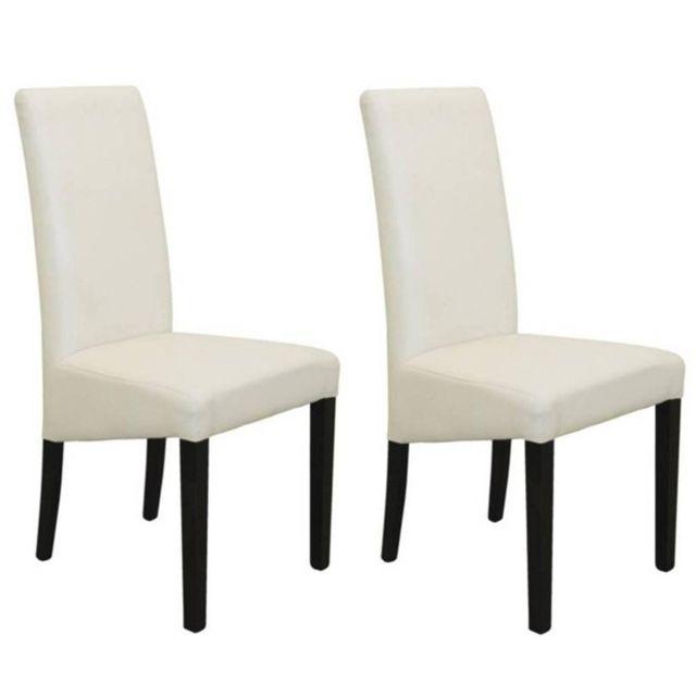 inside 75 lot de 2 chaises design malm rev tement polyur thane blanc pi tement noir pas. Black Bedroom Furniture Sets. Home Design Ideas