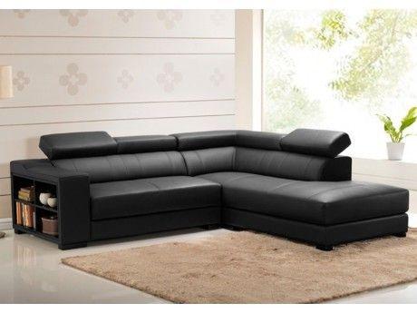 VENTE-UNIQUE Canapé d'angle cuir LEEDS - Noir - Angle droit
