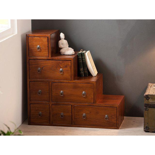 haveli republic meuble escalier en bois 7 tiroirs l76xp34cm freesia marron pas cher achat vente etagres rueducommerce