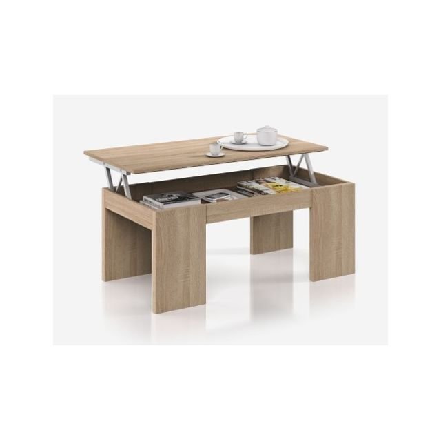 Fores Table Basse A Plateau Relevable Coloris Chene Canadian