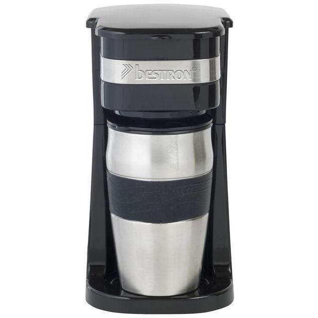 BESTRON Cafetière personnel avec 1 tasse 420ml - 750W - Arrêt automatique  Norme ERP - en noir/inox