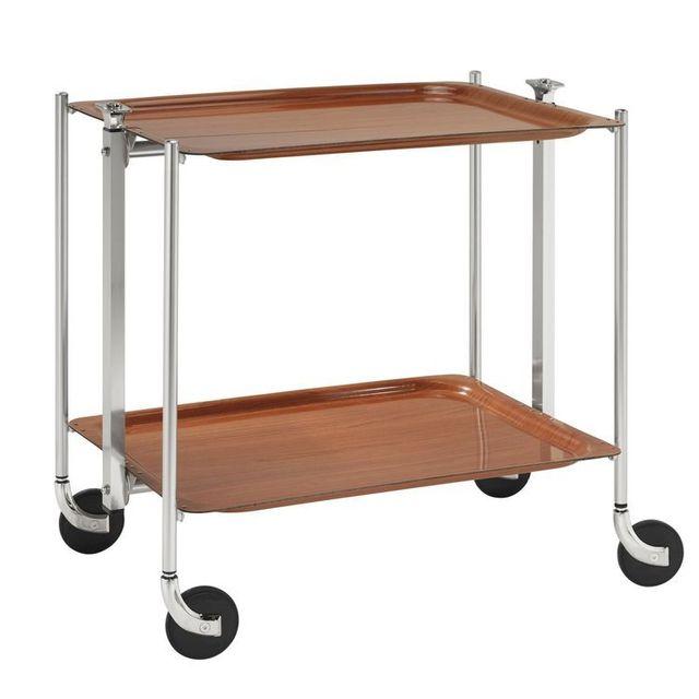 Platex Table roulante pliable - 2 plateaux - Orme - Chromée