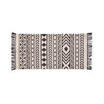 House Bay - Tapis à franges coton imprimé motif ethnique noir/blanc Bolivi - 60x110cm