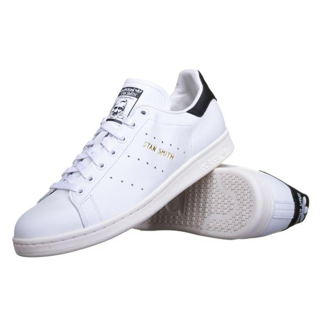 9d5b2b3d516 Adidas - Basket Stan Smith S75076 Blanc Noir - pas cher Achat   Vente  Baskets homme - RueDuCommerce