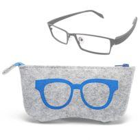 Pour lunettes de soleil   bleu verres Motif de lunettes en feutre étui de  protection à 46dcc0bf7f61