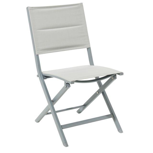 carrefour chaise pliante aluminium et textil ne gris pas cher achat vente chaises de. Black Bedroom Furniture Sets. Home Design Ideas