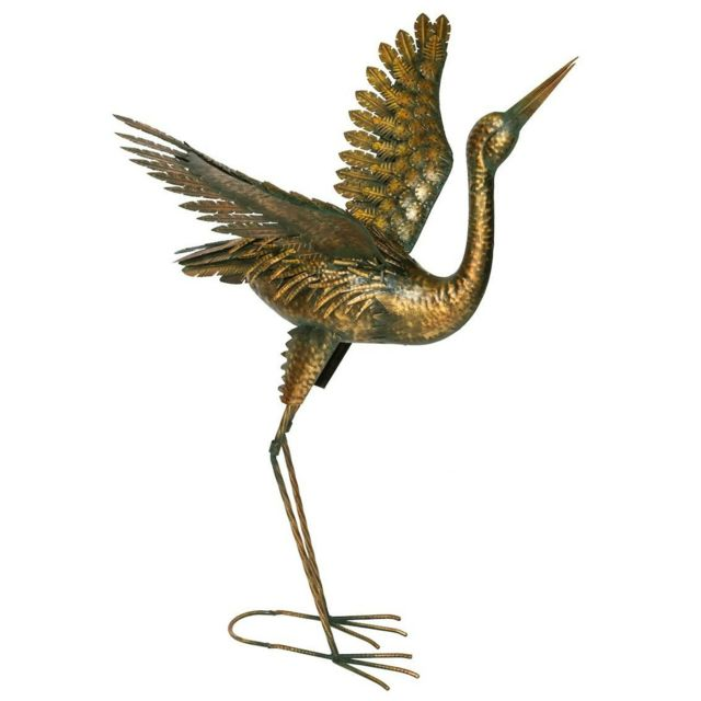 FOUNTASIA Héron décoratif en métal doré ailes ouvertes 80 cm