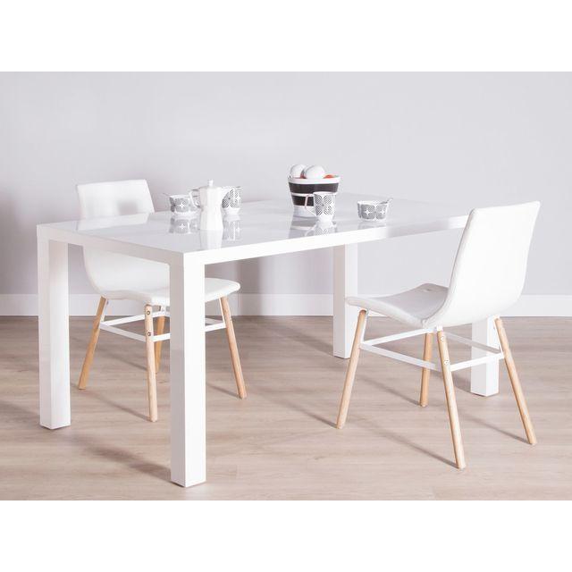 Les essentiels by dlm table manger rectangulaire en bois laqu longueur 160 cm lenny blanc for Carrefour table a manger