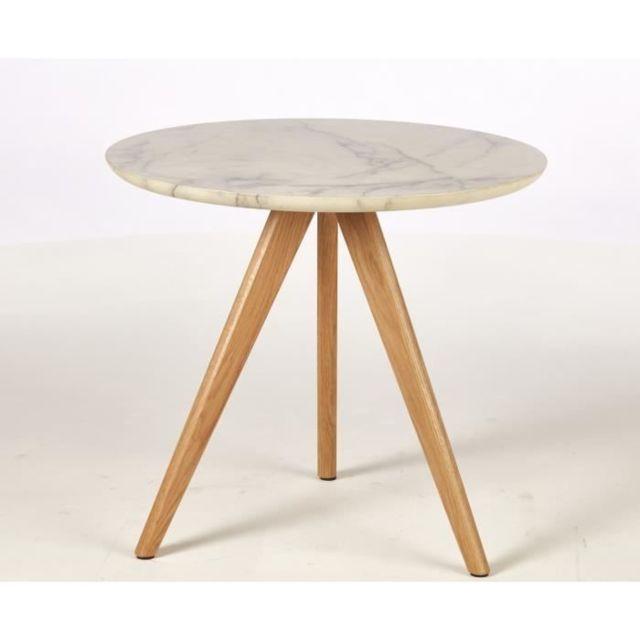 BOUT DE CANAPE COPENHAGUE 2 Tables basses style contemporain décor blanc - 2 x L 50 x l 50 cm