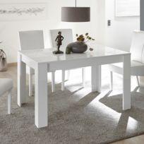 Nouvomeuble - Table de repas blanc laqué design 140 cm avec rallonge Elma cdca413809ca