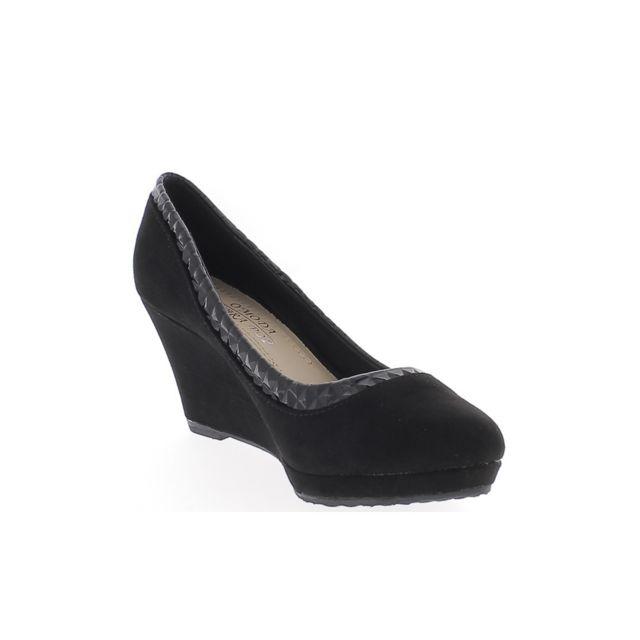 f5ee7310698527 Chaussmoi - Chaussures femme compensées noires talon 7,5cm aspect daim et  liseré verni