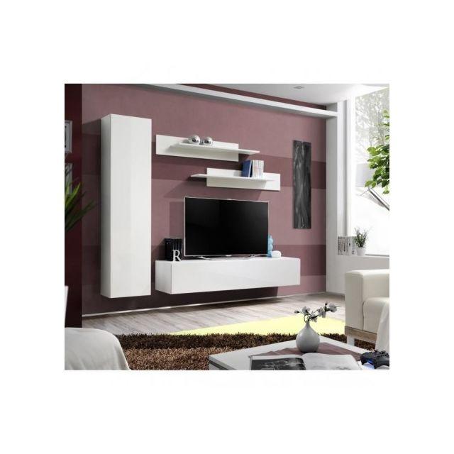 Price Factory - Meuble Tv Fly G1 design, coloris blanc brillant ...
