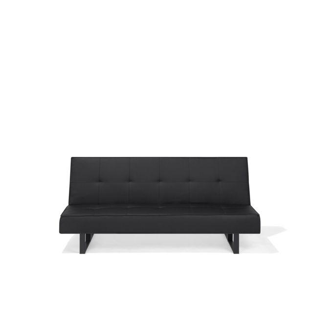BELIANI Canapé convertible en simili-cuir noir DERBY PETIT - noir