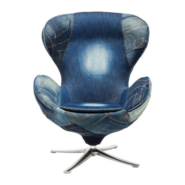 Karedesign Fauteuil Pivotant Lounge Jeans Kare Design