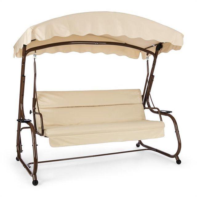 BLUMFELDT High Society Balancelle balançoire de jardin terrasse 220 cm - marron