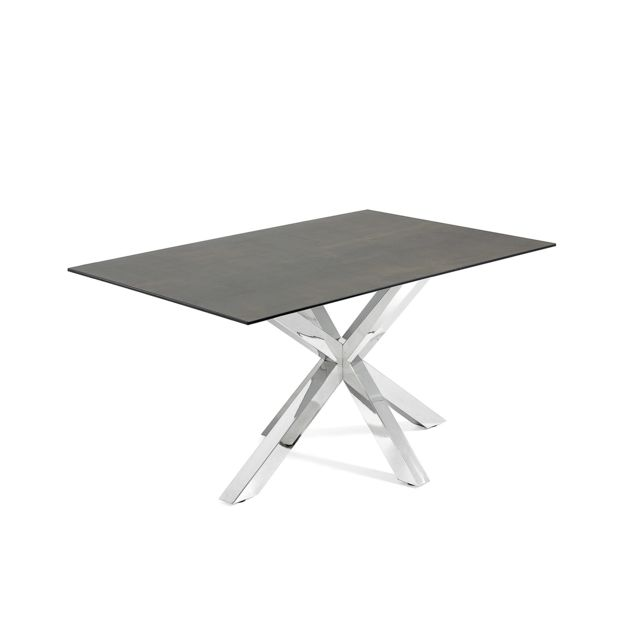 Kavehome Table Argo 160x90 cm, Inox Porcelanique Iron Moss