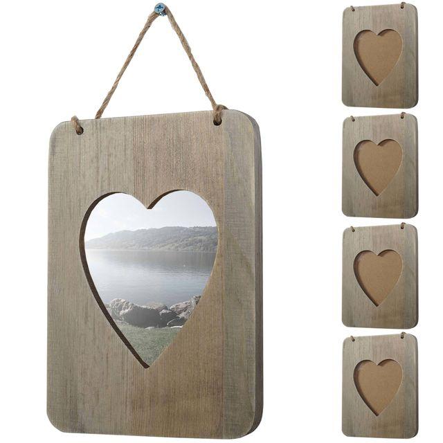 Mendler 5x cadre photo Wels, cadre en bois, style shabby, style cottage, coeur