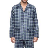 Guasch - Pyjama long en flanelle de coton : veste boutonnée et pantalon à carreaux bleu marine, vert et gris