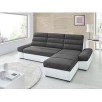 Sofa Story - Canapé d'angle convertible Bimbo Gris anthracite / blanc