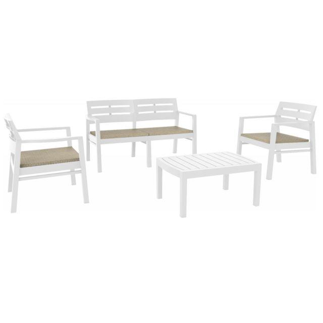 Evergreen Set salon de jardin en résine couleur blanc avec coussins Jav04CCB