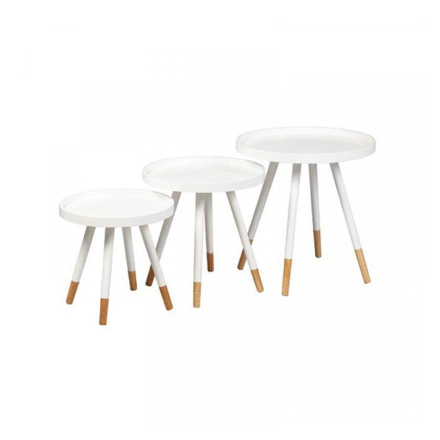 Dansmamaison Tables gigognes laque Blanche - Ploc - L 46 x l 46 x H 48 cm