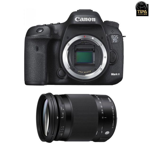 Canon Eos 7D Mark Ii + W-e1 + Sigma 18-300mm F3.5-6.3 Dc Os Hsm Macro Contemporary Garanti 3 ans