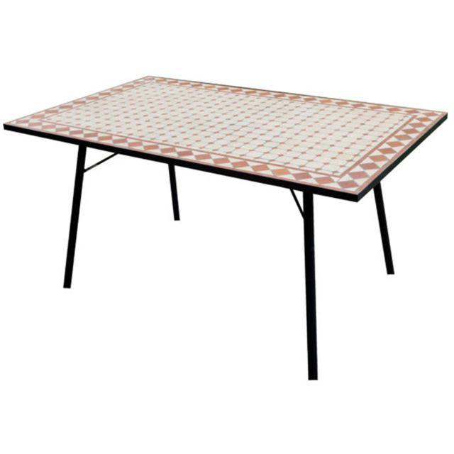 PEGANE - Table de mosaïque rectangulaire en fer forgé noir - Dim ...